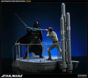Star Wars I Am Your Father Luke Skywalker vs Darth Vader On Bespin Polystone Diorama Statue