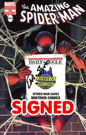 Amazing Spider-Man Vol 2 #666 Midtown Exclusive Daily Bugle Variant Cover Signed By Dan Slott (Spider-Island Prelude)