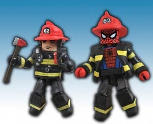 Marvel Minimates Firefighter Spider-Man & Fire Chief Max 2-Pack NYCC 2011 Exclusive