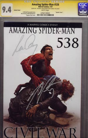 Amazing Spider-Man Vol 2 #538 Incentive Clayton Crain Variant Spoiler Cover Signed By Creators CGC 9.4 (Civil War Tie-In)