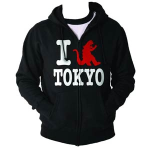 Godzilla I Crush Tokyo Black Zip-Up Hoodie Medium