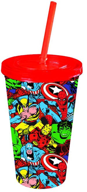 Marvel Heroes 16-Ounce Cold Cup With Lid & Straw - Group Shot