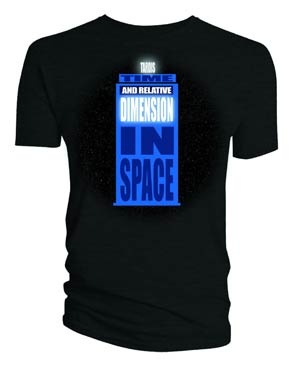 Doctor Who TARDIS Words Black T-Shirt Large