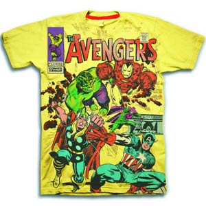 Avengers Comic Foil Logo Yellow T-Shirt Large