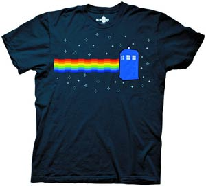Doctor Who Nyan TARDIS Blue T-Shirt Large