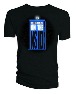 Doctor Who TARDIS Bigger On The Inside Black T-Shirt Large