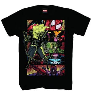 Marvel Heroes Verticraze Black T-Shirt Large