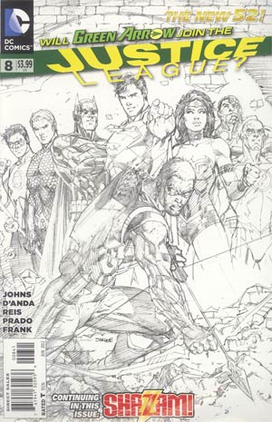 Justice League Vol 2 #8 Incentive Jim Lee Sketch Cover