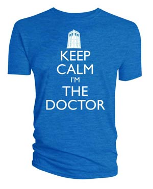Doctor Who Keep Calm Im The Doctor Blue T-Shirt Large