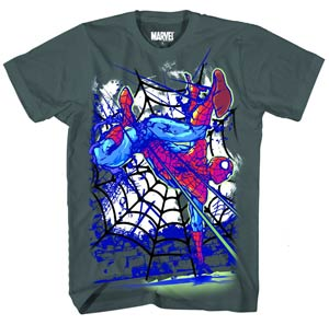 Spider-Man Hand Stand Light Blue T-Shirt Large