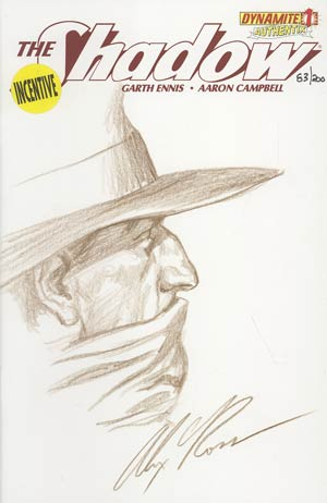 Shadow Vol 5 #1 Incentive Authentix Cover With Hand Drawn Alex Ross Sketch Edition 83 of 200 (one of a kind - sold as is)
