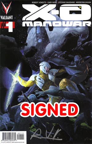 X-O Manowar Vol 3 #1 1st Ptg Regular Esad Ribic Cover Signed By Rob Venditti