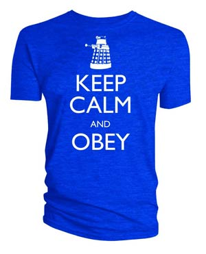 Doctor Who Keep Calm And Obey Blue T-Shirt Large