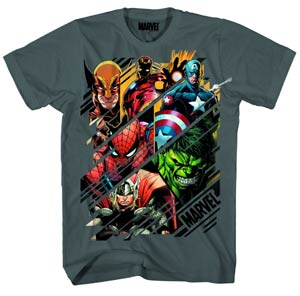 Marvel Heroes Slices Previews Exclusive Charcoal T-Shirt Large