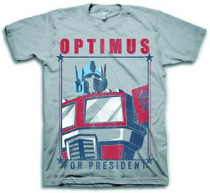 Transformers Optimus For President Grey T-Shirt Large