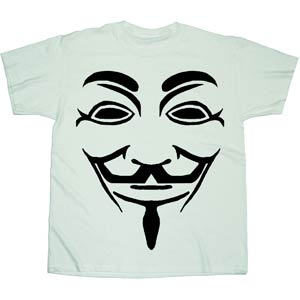V For Vendetta Black Line Mask Previews Exclusive White T-Shirt Large