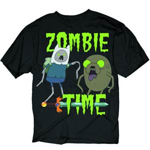 Adventure Time Zombie Time Black T-Shirt Large