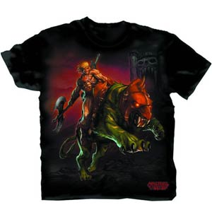 Masters Of The Universe He-Man Astride Battlecat Black T-Shirt Large