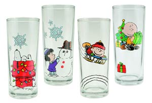 Peanuts Holiday 10-Ounce Glass 4-Piece Set