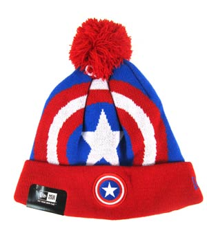 Woven Biggie Knit Cap - Captain America Face
