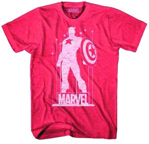 Captain America Cap Stance Red Heather T-Shirt Large
