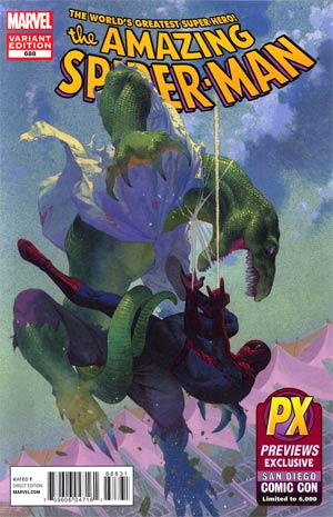 Amazing Spider-Man Vol 2 #688 SDCC 2012 Retailer Exclusive Esad Ribic Lizard Variant Cover
