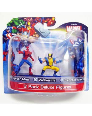 Marvel Heroes 3-Pack 4-Inch Figures Captain America Spider-Man Wolverine