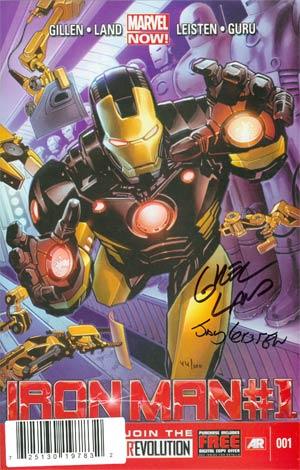 Iron Man Vol 5 #1 DF Deluxe Edition Signed By Greg Land & Jay Leistein
