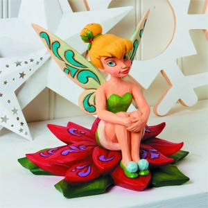 Disney Traditions Tinker Bell On Poinsettia Figurine
