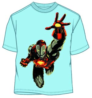 Iron Man Like A Hawk Light Blue T-Shirt Large