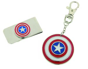 Captain America Money Clip & Keychain Box Set