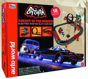 Auto World Batman Pursuit Of The Penguin Slot Car Set