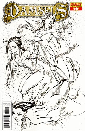 Damsels #1 Incentive J Scott Campbell Inked Black & White Cover