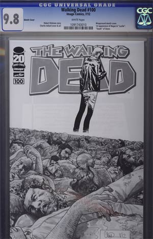Walking Dead #100 Incentive Charlie Adlard Sketch Cover CGC 9.8