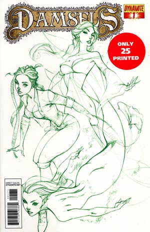 Damsels #1 DF Exclusive J Scott Campbell Earth Green Ultra-Limited Cover (Only 25 printed!)