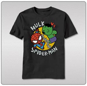 Marvel Kawaii Toy Hulk vs Spidey T-Shirt Large