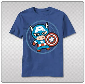Marvel Kawaii Cap In Circle T-Shirt Large