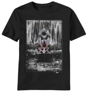 Captain America Raining Black Black T-Shirt Large