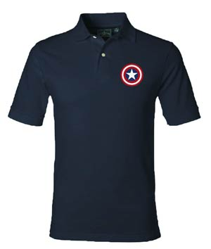 Captain America Shield Navy Polo Medium