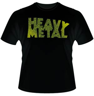 Heavy Metal Yellow Distressed Logo T-Shirt Large