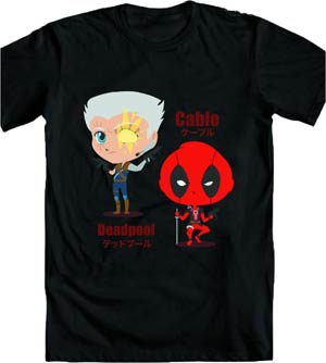 Marvel Kawaii Deadpool & Cable T-Shirt Large