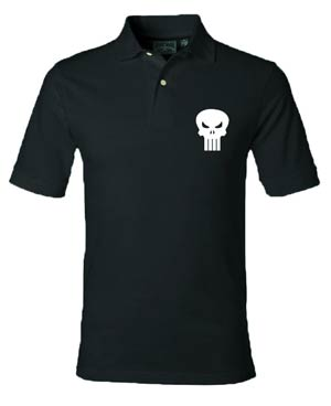 Punisher Skull Black Polo Medium