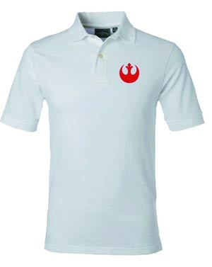 Star Wars Rebel Symbol White Polo Medium