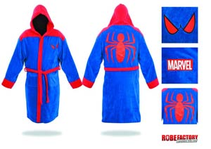 Spider-Man Bathrobe - Red & Blue Hooded Cotton