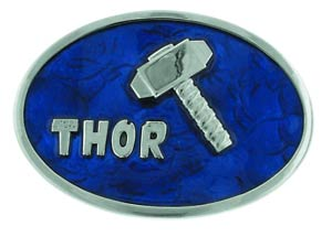 Marvel Heroes Belt Buckle - Thor Hammer Silver/Blue
