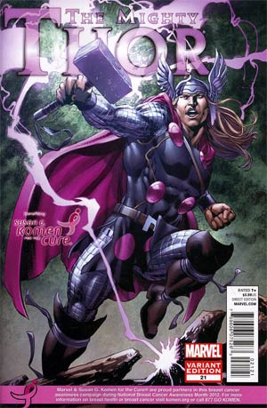Mighty Thor #21 Variant Susan Komen Cover (Everything Burns Part 6)