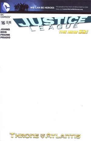 Justice League Vol 2 #16 Variant We Can Be Heroes Blank Cover (Throne Of Atlantis Part 3)