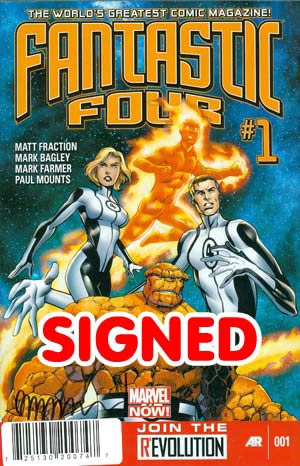 Fantastic Four Vol 4 #1 Cover H DF Signed By Matt Fraction
