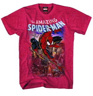DO NOT USE (Duplicate Listing) Spider-Man Spiderscene Red Heather T-Shirt Large