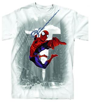 Spider-Man Through The City Previews Exclusive White T-Shirt Large